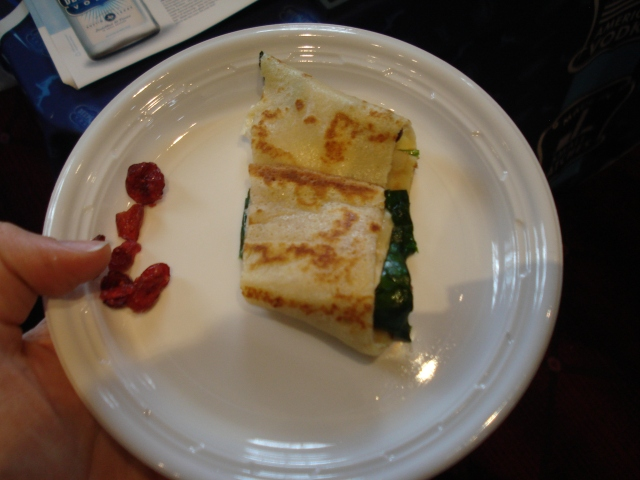 spinach, goat cheese, and cranberry crepe